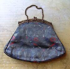 Vintage 1920s Purple Silk & Metallic Brocade Women's Evening Bag