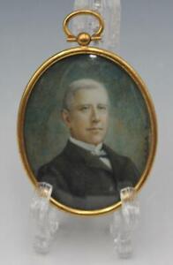 C1920 Italian Miniature Portrait Painting of a Gentleman w/Brass Frame Signed
