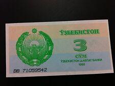 Uzbekistan BANKNOTE- 3 Cym 1992 + GRATIS BANKNOTE CROATIA !!!