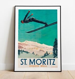 Vintage Skiing Print, St Moritz Print, Ski Print, St. Moritz Art Poster