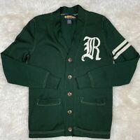 Polo Ralph Lauren Rugby Varsity Cotton Tight Knit Green Cardigan Sweater XS EUC