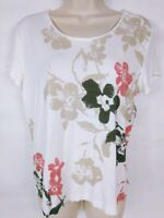 Chico's Women's Blouse Top Size 1 Medium White Floral Cap Sleeve Scoop Neck