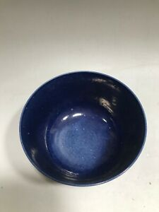 Chinese Porcelain Blue Ceramic Bowl with Signature