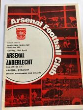 Arsenal Vs Anderlecht Fairs Cup Final Programme Signed 1969/70