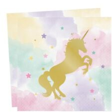 UNICORN SPARKLE PASTEL NAPKINS WITH GOLD FOIL UNICORN TABLEWARE  DECORATION