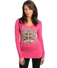 Women Hot Pink Hoodie Sweater Top with Wings and Rhinestones - Size Large