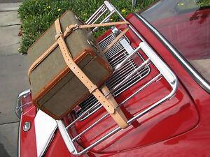 Vintage PORSCHE 356 Leitz Lietz Trunk Rack Leather Luggage Brn Straps Hand Made