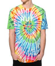 HUF Tie Dye OG Logo T-Shirt Rainbow Skate Fashion Street Wear Classic LARGE New