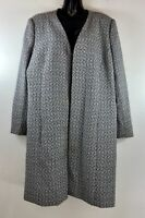 Nina Drake Women's Blazer Jacket Size 18 Open Front Long Black White Tweed