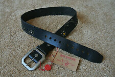 TRUE RELIGION COLORED JEWEL EMBELLISHED Premium Leather Belt 28 NWT$128 BLACK!