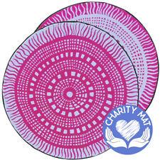 ABORIGINAL Charity Mat | Outdoor Rug | Recycled Plastic | 3m Round Plum White