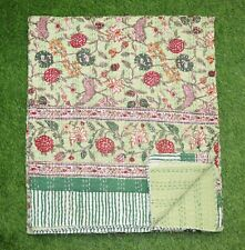 Indian Cotton Queen Size Kantha Quilt Bedspread Handblock Green Floral Bedcover
