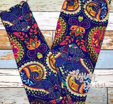 Plus Size Brilliant Vibrant Paisley Leggings Brushed Peach Skin Fabric TC NWT