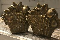 Vintage Pair Brass Gold Tone Fruit & Flower Basket Bookends Enesco Taiwan 1983
