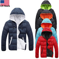 Winter Men's Slim Casual Warm Jacket Hooded Thick Coat Parka Overcoat Hoodie US