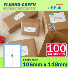 100 Sheets - Fluoro Green - Peel Paste Mailing Label 105x148mm 4 per Page