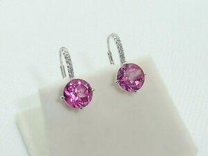 Ladies Hallmarked Solid 950 Platinum Brilliant Cut Pink Topaz & Diamond Earrings