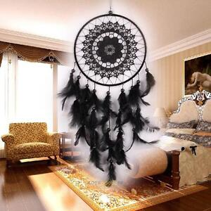 Black Lace Handmade Dream Catcher Feather Bead Wall Hanging Decoration Ornament