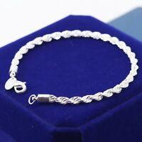Bracelet Plaqué Argent 925 - Haute Qualité Bijou Torsadé Cadeau - Mode Femme