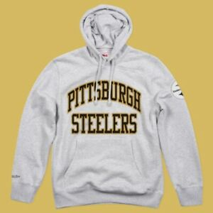 Mens 2XLT Pittsburgh Steelers Mitchell & Ness Embroidered Hoodie Sweatshirt Gray