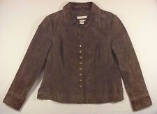 Women's Coldwater Creek Western Brown Leather Jacket Suede Snap Front Petite L