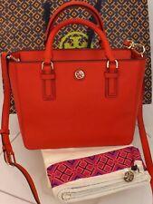 Tory Burch Robinson Mini Saffiano Vermillion Red Leather Zip Crossbody Bag