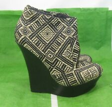 """new ladies Black/beige 5.5""""High Wedge 1.5""""Platform Sexy Ankle Boots Size 6"""