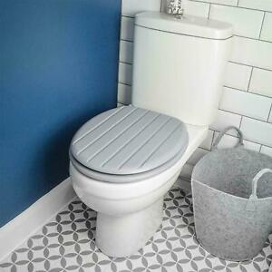 GREY TONGUE & GROOVE MDF WOOD TOILET SEAT STAINLESS STEEL HINGES STRONG BATHROOM