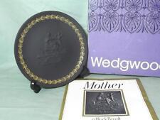"Wedgwood black basalt Jasper Ware Mère Plaque 6 1/4"" 1971 Boxed"