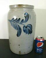 Antique Americana Salt Glazed Stoneware Cobalt Blue Flowers 2 Gallon Crock Jar