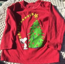 Girls Red Tee L/S Shirt 2T Jumping Beans Snoopy Woodstock Christmas Tree Topper