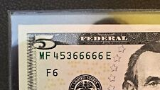 "$5 FIVE DOLLAR BILL ~ FIVE OF A KIND ""6"" SOLID ***66666 ~ Atlanta 2013  AUNC/UNC"