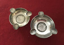 (2) Colombia Coin Silver Ashtrays Llama Footed