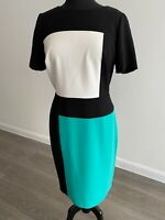 M&S Collection Colour Block Dress UK14 EU42 Lined Black/White/Green short sleev