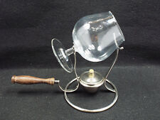 Vintage PM Italy Silverplate Brandy Warmer & Glass with Stand & Burner