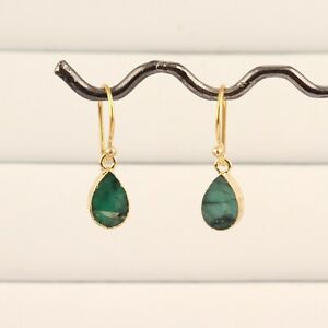 Tiny Pear Shape Natural Green Emerald Gold Plated Drop Dangle Earring Jewelry