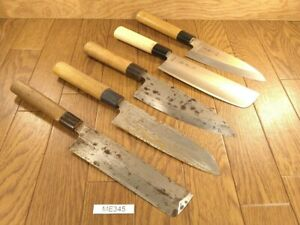 Damaged Lot of Japanese Chef's Kitchen Knives hocho set from Japan ME345