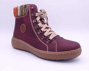 Rieker Z6633-35 Women's Red Fleece Lined Ankle Boots Size UK 3.5 EUR 36