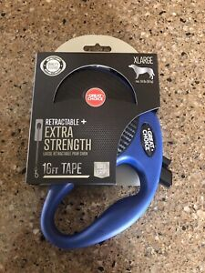 Great Choice Retractable Extra Strength 16 ft, Tape Leash XL Blue Black Lead