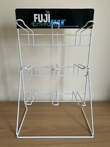 White Table Top Wire Frame Retail Display For Small Products (9 Euro Hooks)