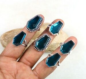 deep vivid sky natural blue topaz oval huge stone highest quality stone sterling silver 925 men ring  all sizes jewelry