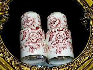 ANTIQUE Charlotte Royal Crownford England Fine Porcelain Salt Pepper 2 Shakers