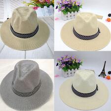 Men Women Brimmed Knit Straw Fedora Cowboy Trilby Hat Sunshade  Casual Summer