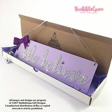 We believe handmade purple silver Christmas sign glitter bow with jingle bells