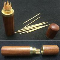 Portable Vintage Wooden Toothpick Holder Pocket Toothpick Dispenser Bucket JP