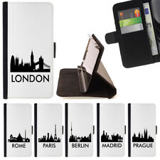 EUROPE CITIES SKYLINE WALLET CASE COVER FOR APPLE IPHONE 6 PLUS & 6S PLUS