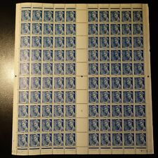 FEUILLE SHEET TIMBRE TYPE MERCURE N°414A x100 1939 NEUF ** COTE 500€