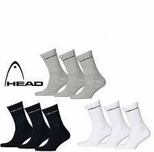 HEAD Sports Socks Unisex Crew Pack 3 Pair Plain Packs UK Size 9-11 New