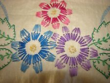 "VTG EMBROIDERY FLOWERS UNBLEACH PURE LINEN DRESSER SCARF TO FINISHED 14"" BY  44"""
