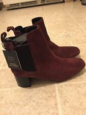 ZARA Women's Suede Leather Heel Ankle Boots Burgundy color size US 9 /EUR40